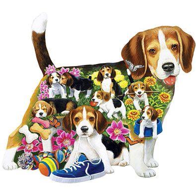 Beagle Brigade 750 Piece Shaped Jigsaw Puzzle Beagle Beagle Dog