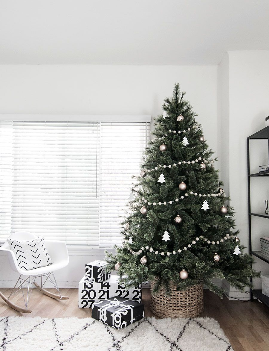 Minimalist Christmas.Minimal Scandinavian Christmas Tree Holiday Scandinavian