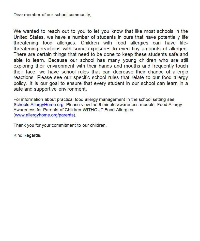School Food Allergy Notification Letter  Food Allergies