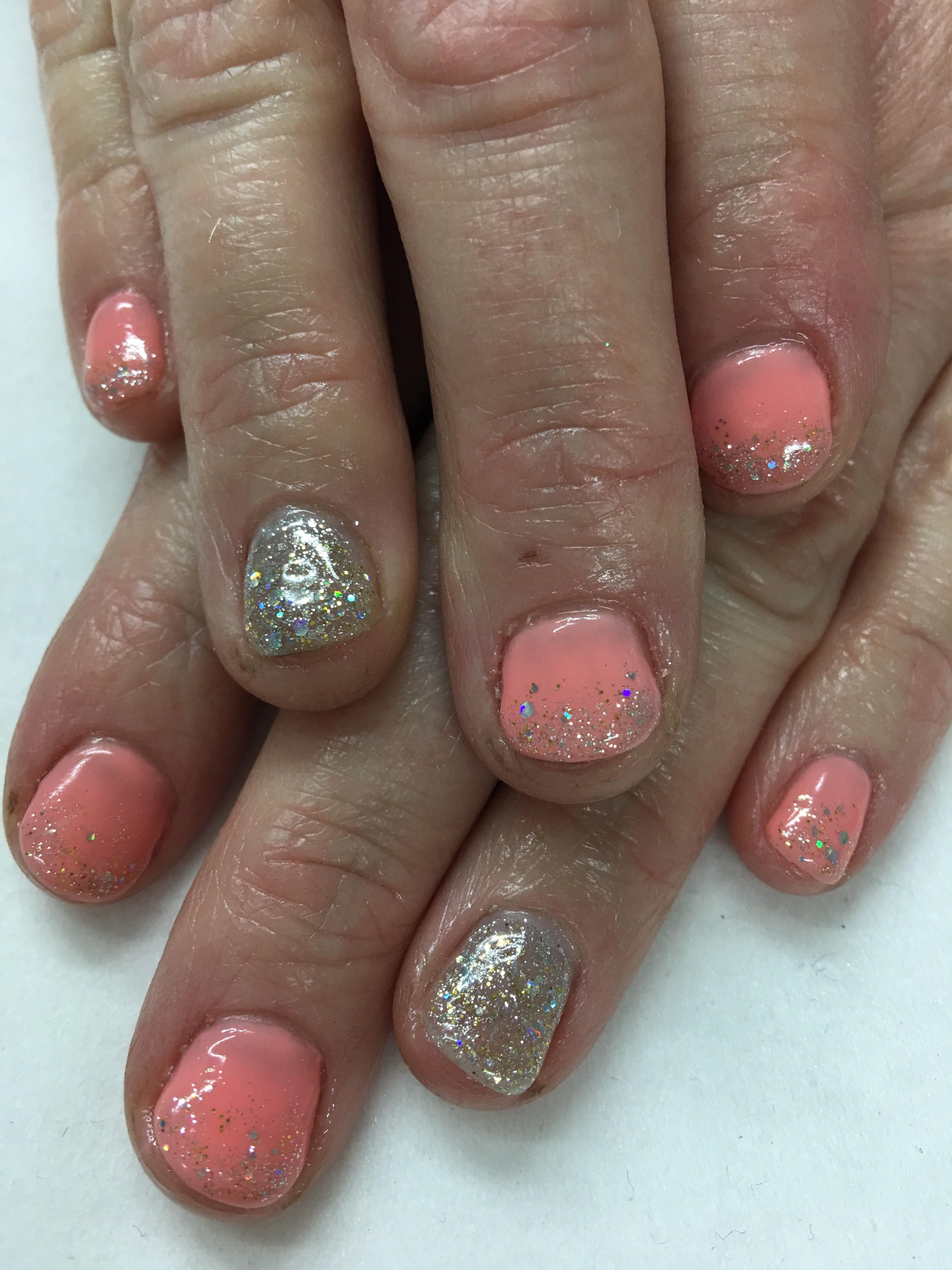 Short Peach with Gold and Silver Glitter Gradient Gel Nails   Gel ...