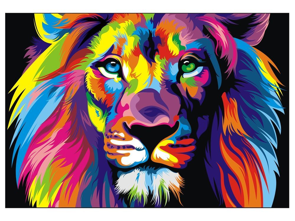 Canvas banksy street art print rainbow lion painting 70cm for Artist canvas paint color