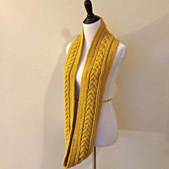 Knitting Pattern Infinity Scarf Cable Scarf Pattern Instant