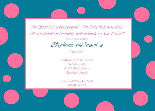 Fun Engagement Party Invitation Wording Blue Dots Engagement - engagement invitation words
