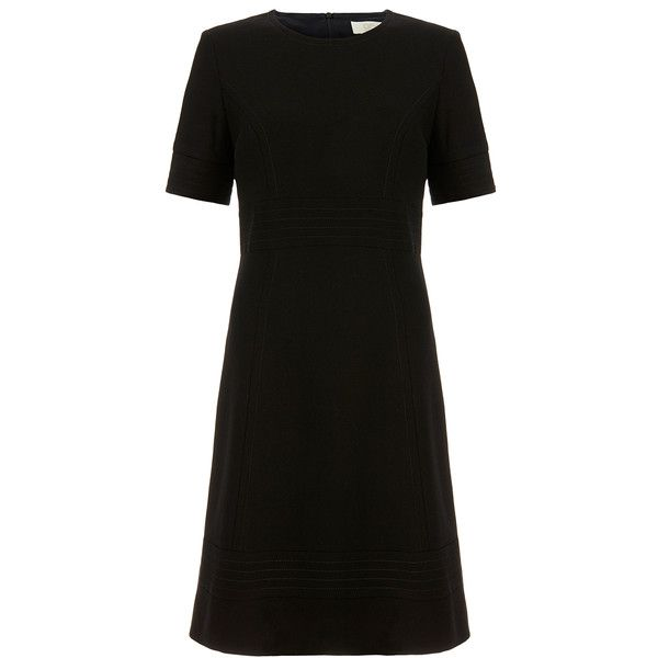 Goat Violet Black Wool-Crepe Dress with Stitch Detail ($295) ❤ liked on Polyvore featuring dresses, black, wool crepe dress, wool dress, round neck dress, black sleeve dress and round neck short sleeve dress