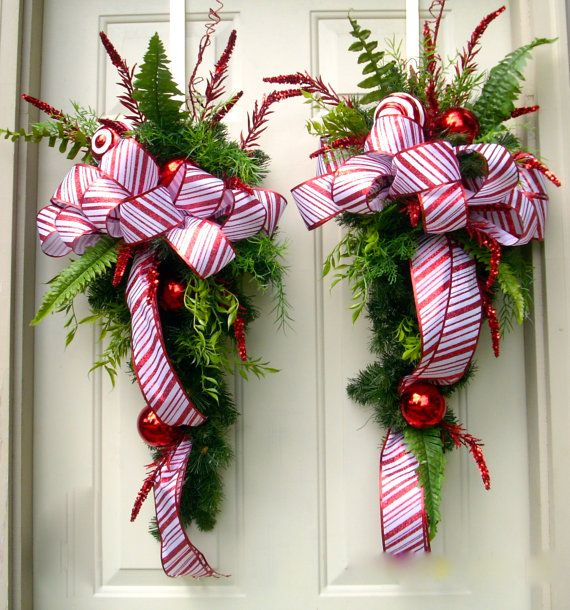 Red Christmas Swag Wreath Candy Cane Ribbon Swag Red And
