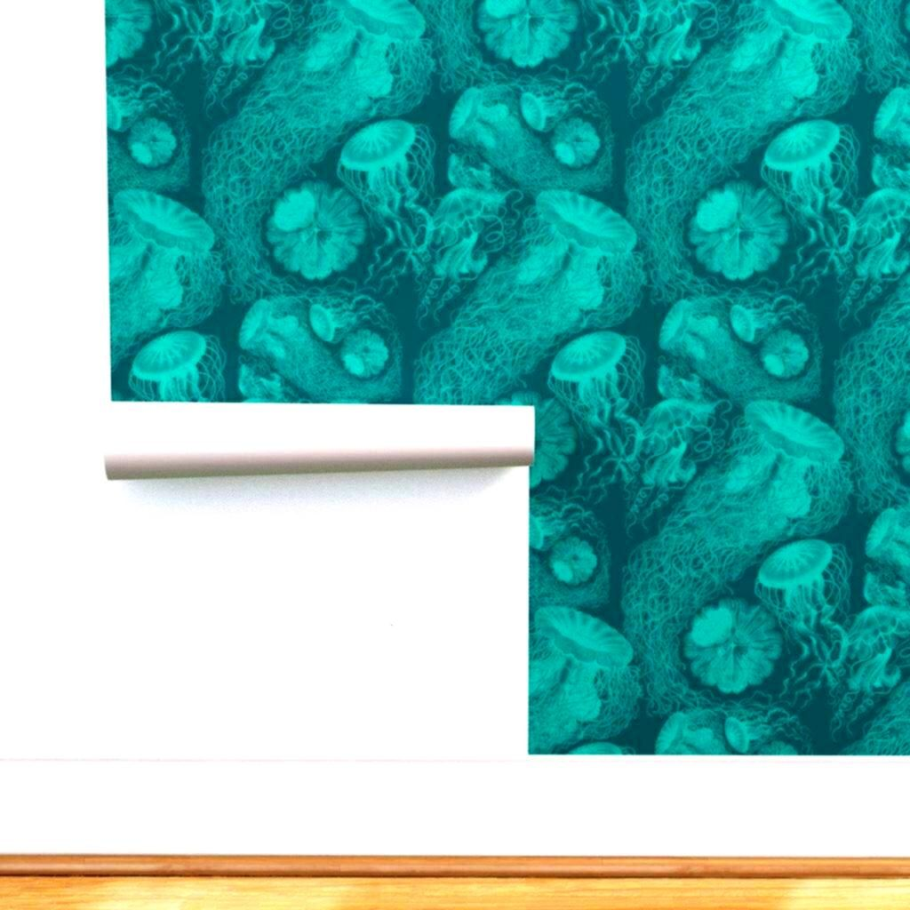 Wallpaper  Jellyfish Swarm By Peacoquettedesigns  Jellyfish Custom Printed Removable Self Adhesive Wallpaper Roll by Spoonflower by Spoonflower on Etsy Jellyfish Wallpape...