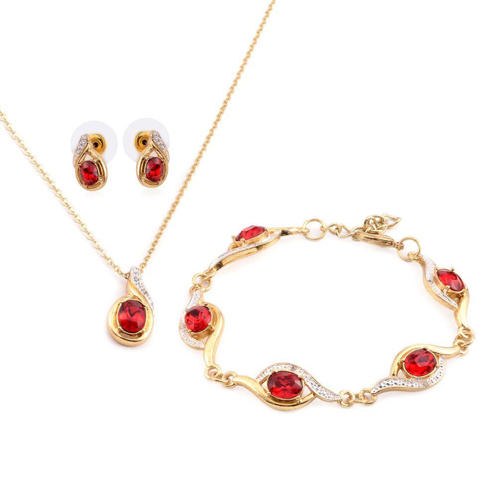Red glass white austrian crystal necklace earrings u bracelet