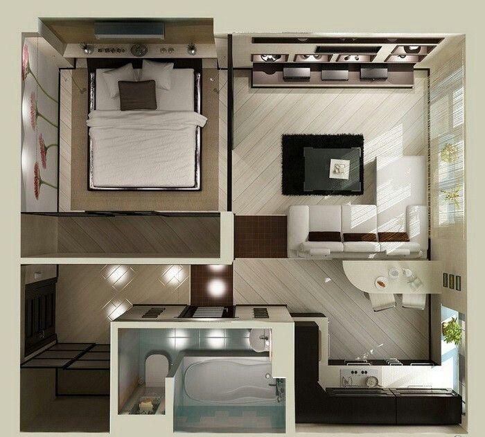 Studio flat floor plan Arquitectura Pinterest Studio