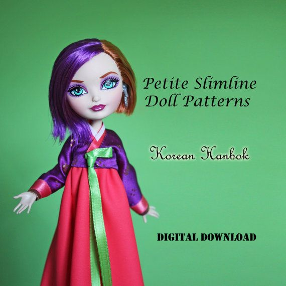 Korean Hanbok dress Doll Clothes PDF Sewing Pattern for Petite ...