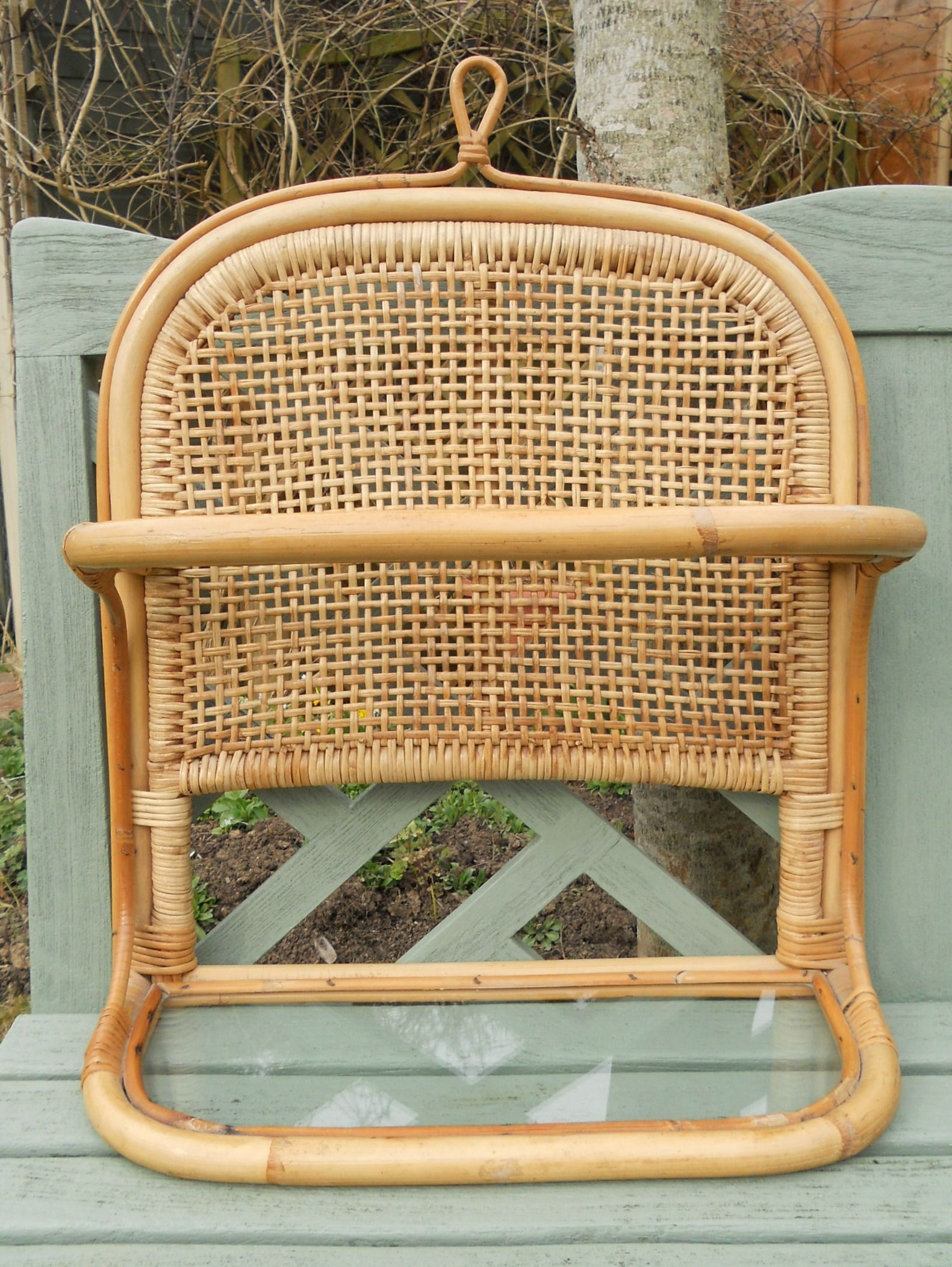 A Vintage Cane Amp Rattan Wall Hanging Shelf Unit With Glass