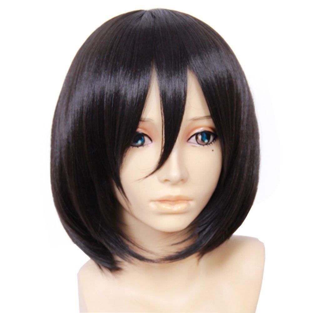 Attack On Titan Mikasa Ackerman Anime Black Bob Short Wig Cosplay Costume Short Wigs Anime Wigs Cosplay Wigs