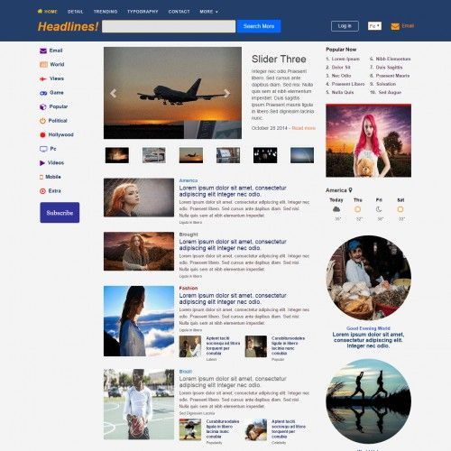 News \ Magazine, Bootstrap, 3 Column Web Template Templates - ngo templates