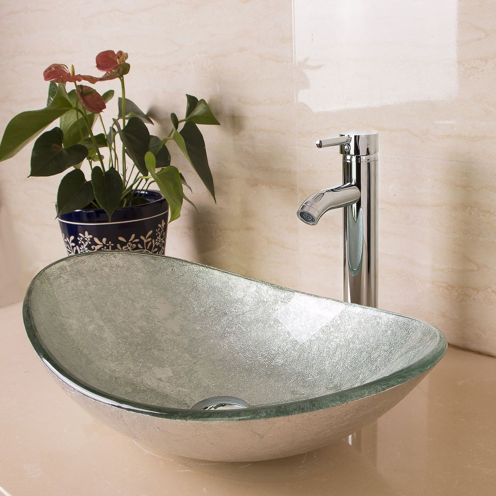 Bathroom Vessel Sink Oval Artistic Glass W Chrome Faucet Pop Up