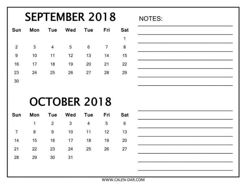 September October Calendar 2018 Template Printable September 2018