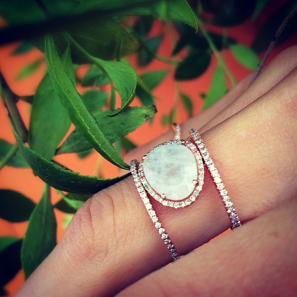 moonstone wedding ring sets 14kt gold and diamond Double Band Moonstone ring
