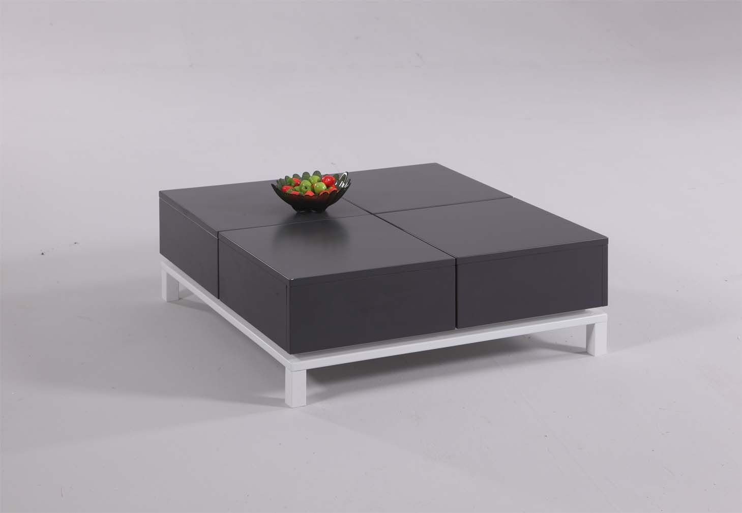 Ultra Grey Cocktail Coffee Table With Four Storage Compartments