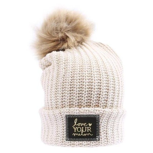 White Speckled Gold Foil Cuffed Pom Beanie (Natural Pom) ( 50) ❤ liked on  Polyvore featuring accessories d1d3cd5119c