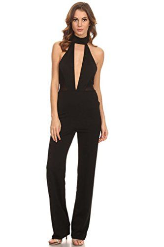 Sexy Black Halter Neck Long Pants Plunging Neckline Sleeveless Jumpsuit (Black, Large)