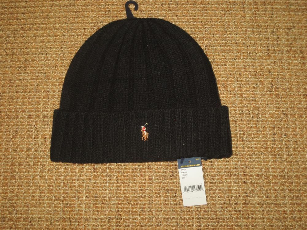 NEW POLO RALPH LAUREN BEANIE HAT WINTER WOOL BLACK MEN S PONY LOGO   PoloRalphLauren  Beanie aeec17494959