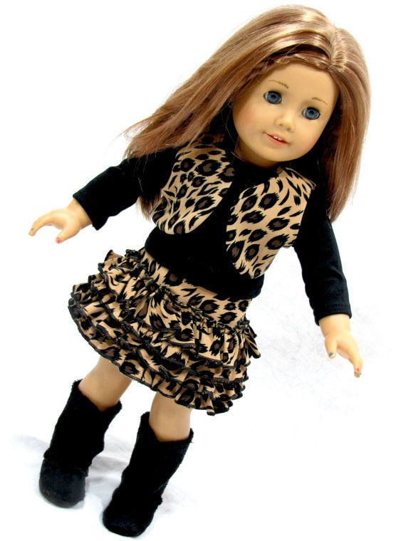"Doll Clothes fits American Girl Doll 18/"" Leopard Coat Hat Boots Handmade Purse"