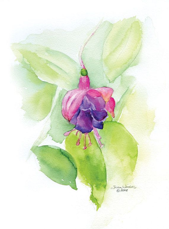Fuschia Flower Watercolor Painting Giclee Fine Art 8 x 10 Print