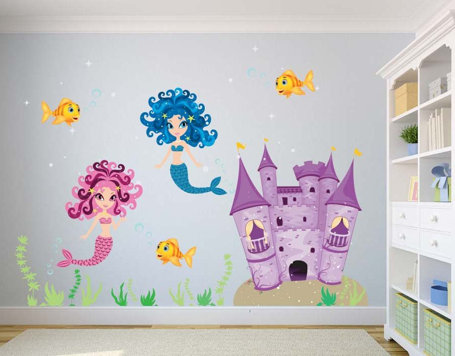 Ocean Mermaids Castle Wall Decal Children39s Room Decor
