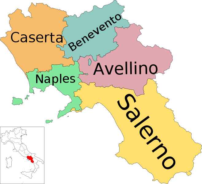 Cartina Geografica Politica Campania.Map Of Region Of Campania Italy With Provinces My Maternal Grandparents Were From The Province Of Caserta Campania Italy Campania Benevento