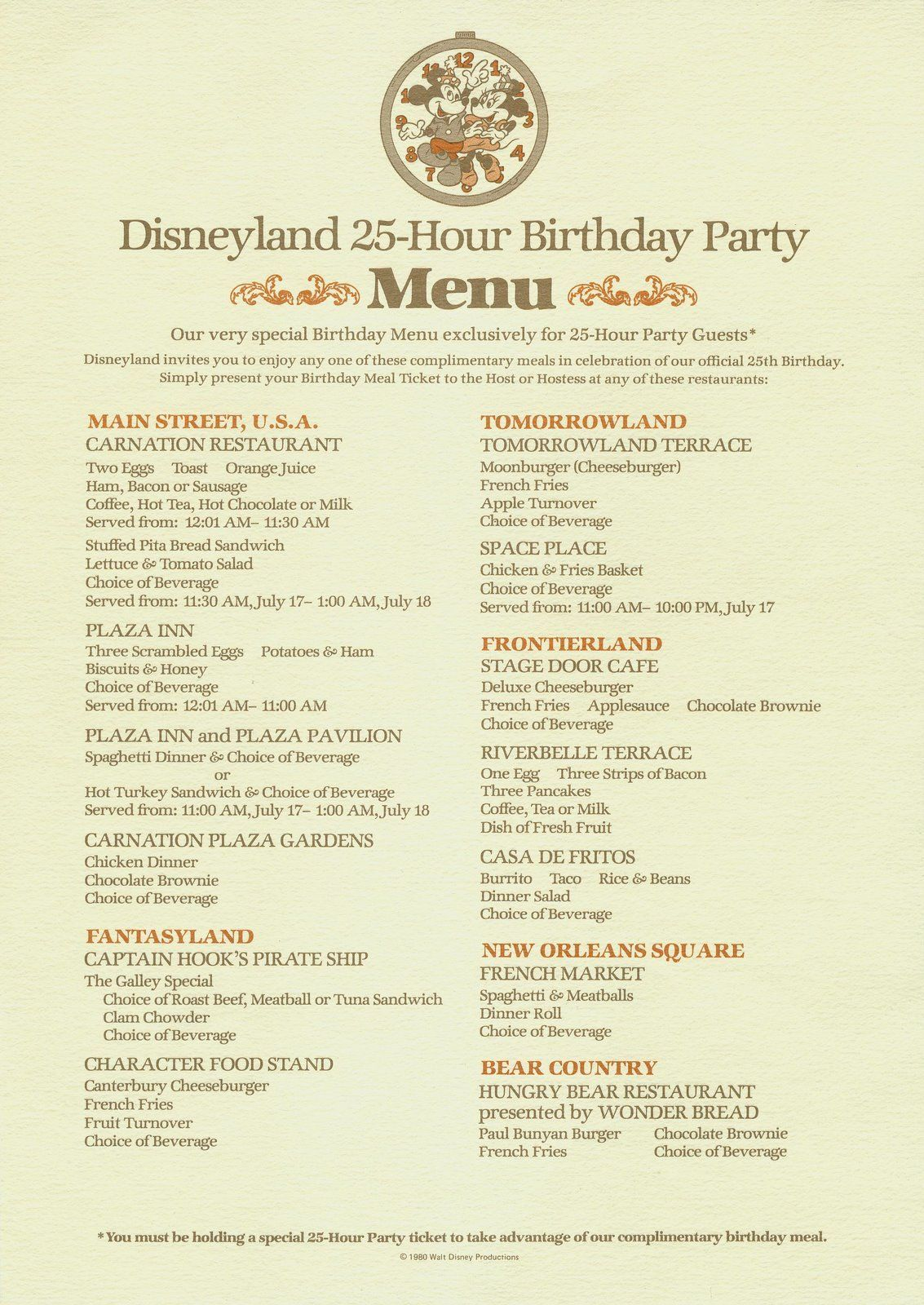 Bloodonthesaddle Menu Handout From Disneyland S 25th Anniversary Party On July 17th 1980 I M Tempted By A Me In 2020 Vintage Disney Disney Menus Vintage Disneyland
