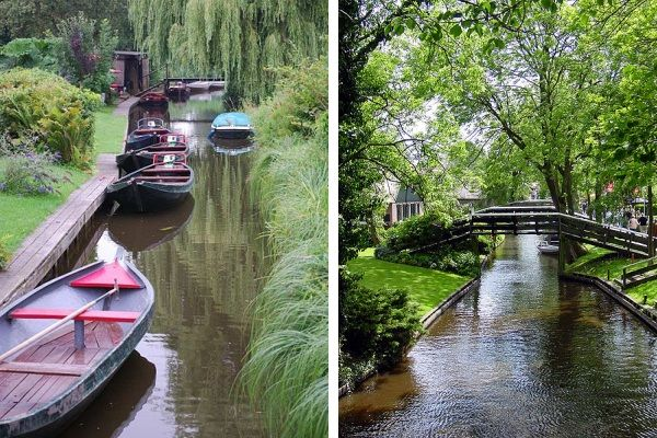Giethoorn - The streets in this little Dutch town have no name. That's because there aren't any streets!