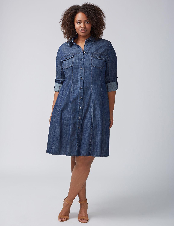 Seamed A-Line Denim Shirtdress   Products   Denim shirt dress, Shirt ...