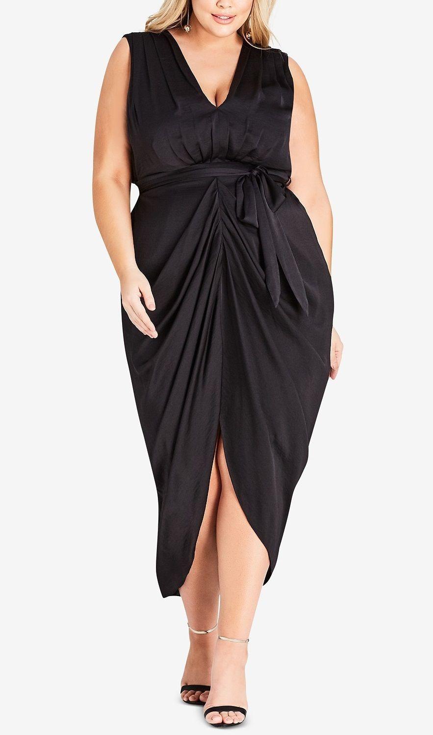 Plus Size Draped Dress   Plus size party dresses, Plus size ...