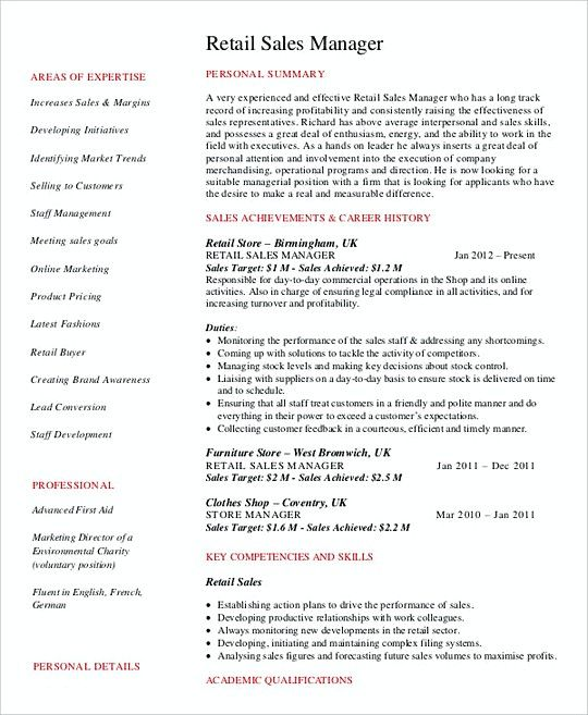 Retail Sales Manager Resume Retail Sales Manager Resume Template  Professional Manager Resume