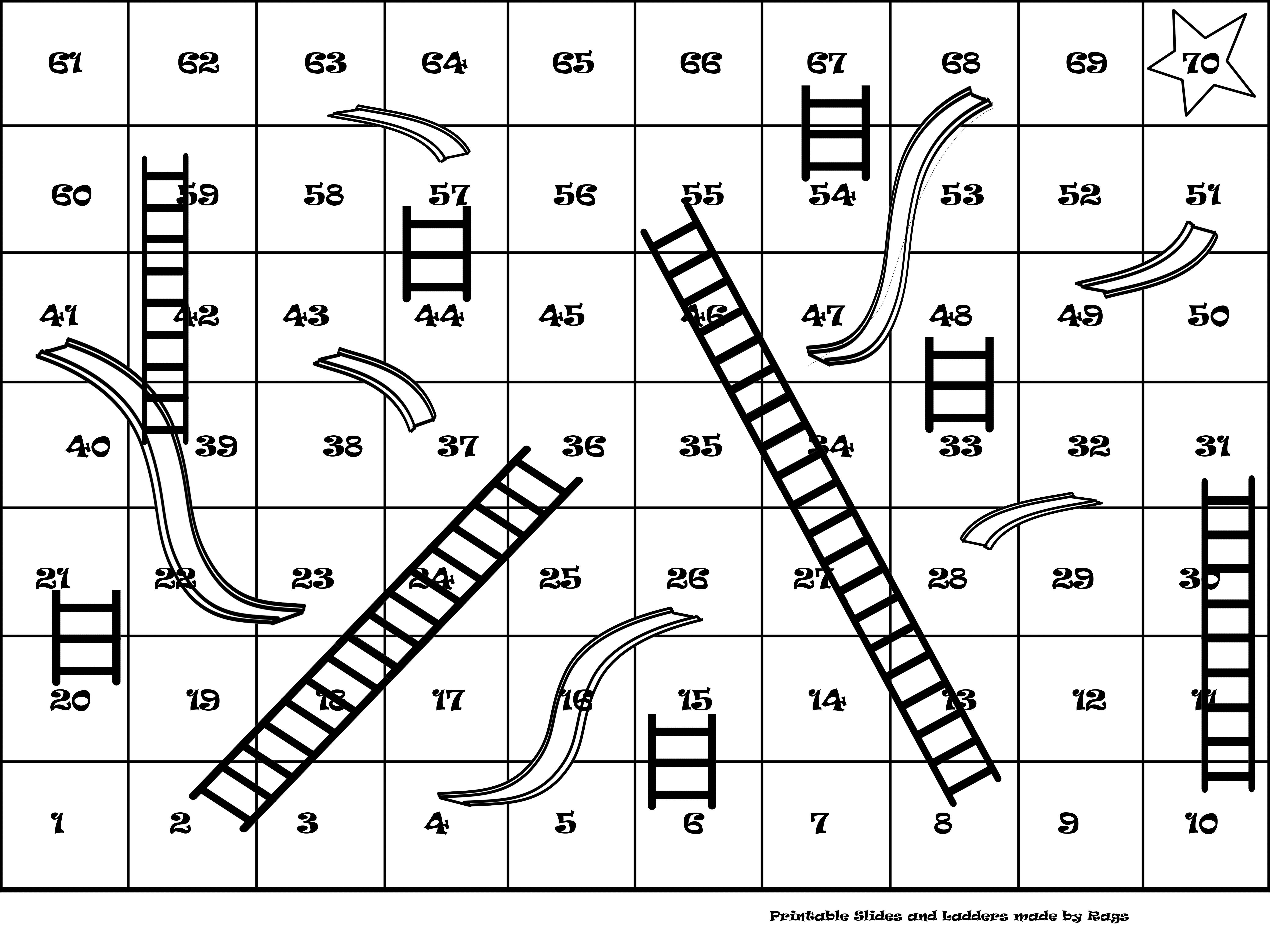 Printable Slides And Ladders Prints On 4 Sheets Of Paper