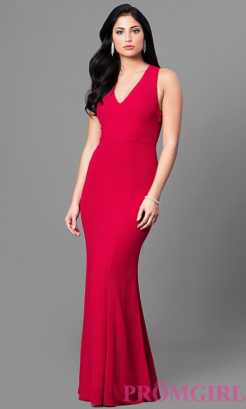 Image of long red v-neck chiffon prom dress with back bow. Style: MT ...