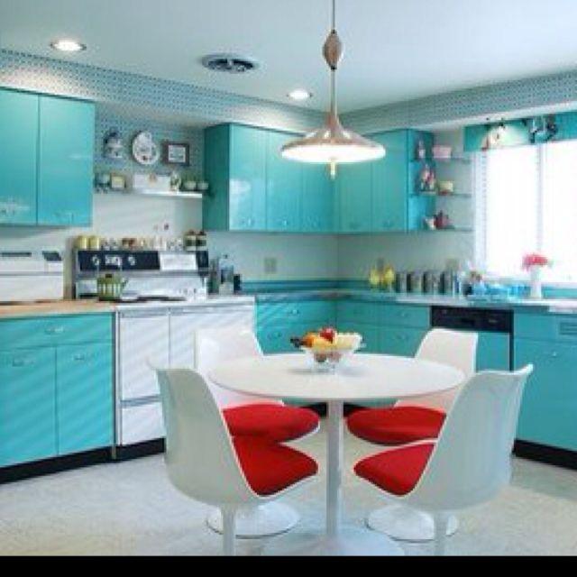 Modern 50s Kitchen Google Search Metal Kitchen Cabinets Mid Century Modern Kitchen Retro Kitchen