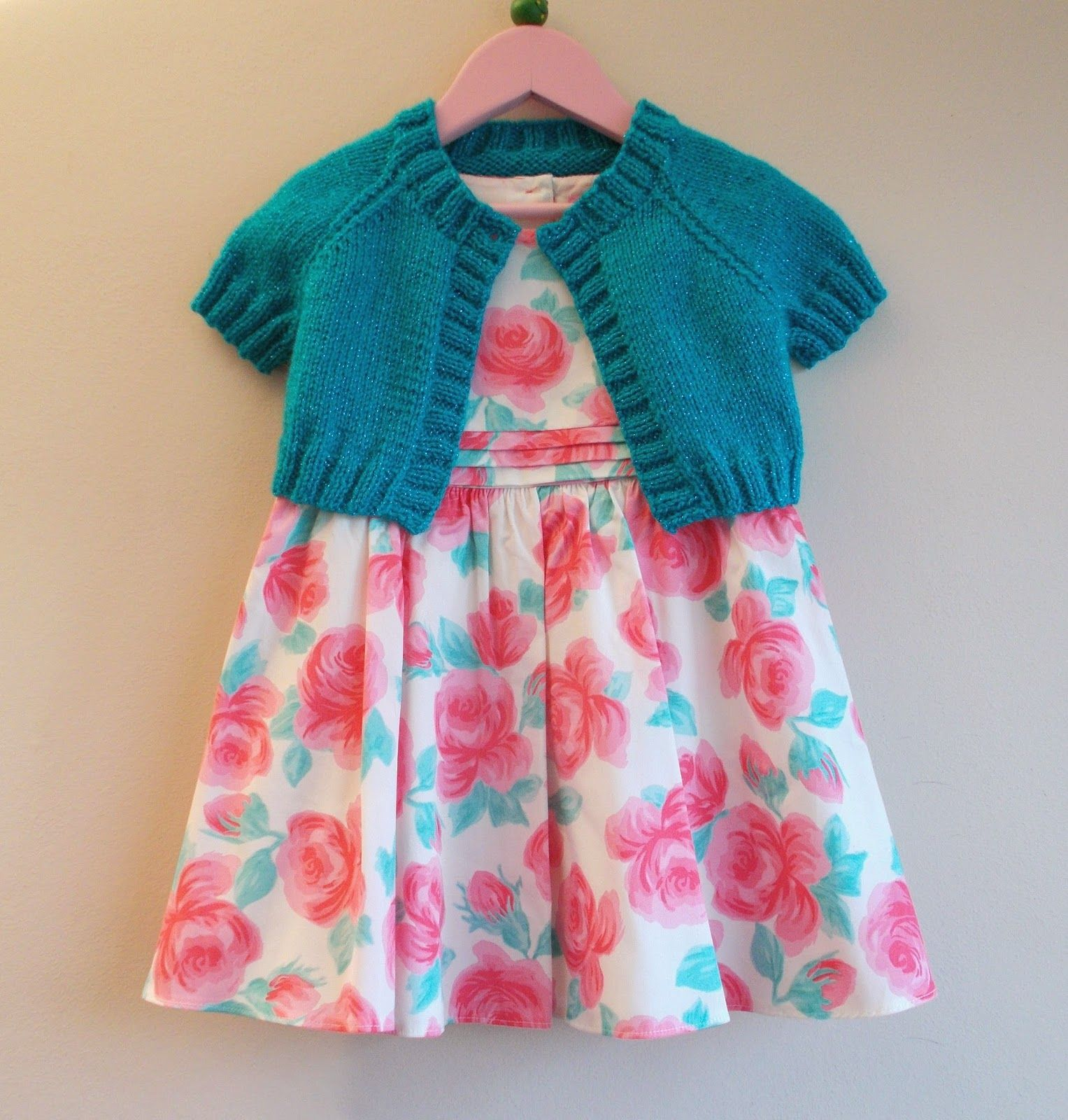 Turquoise Sparkle Girl's Short Cardi / Shrug   Knitting ...