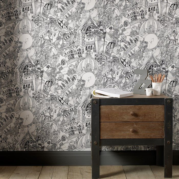 Lizzies Doodle Black/White Wallpaper - Black White Wall Coverings by Graham  Brown