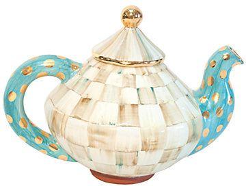 MacKenzie-Childs Parchment Check Tea Pot & Lid