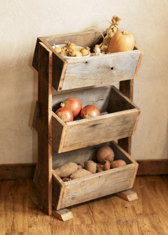 Patata Bin Bin vegetales granero madera por GrindstoneDesign - muebles para cocina de madera
