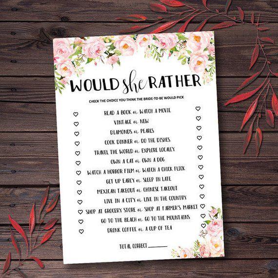 Floral Bridal Shower Games Printable Would She Rather