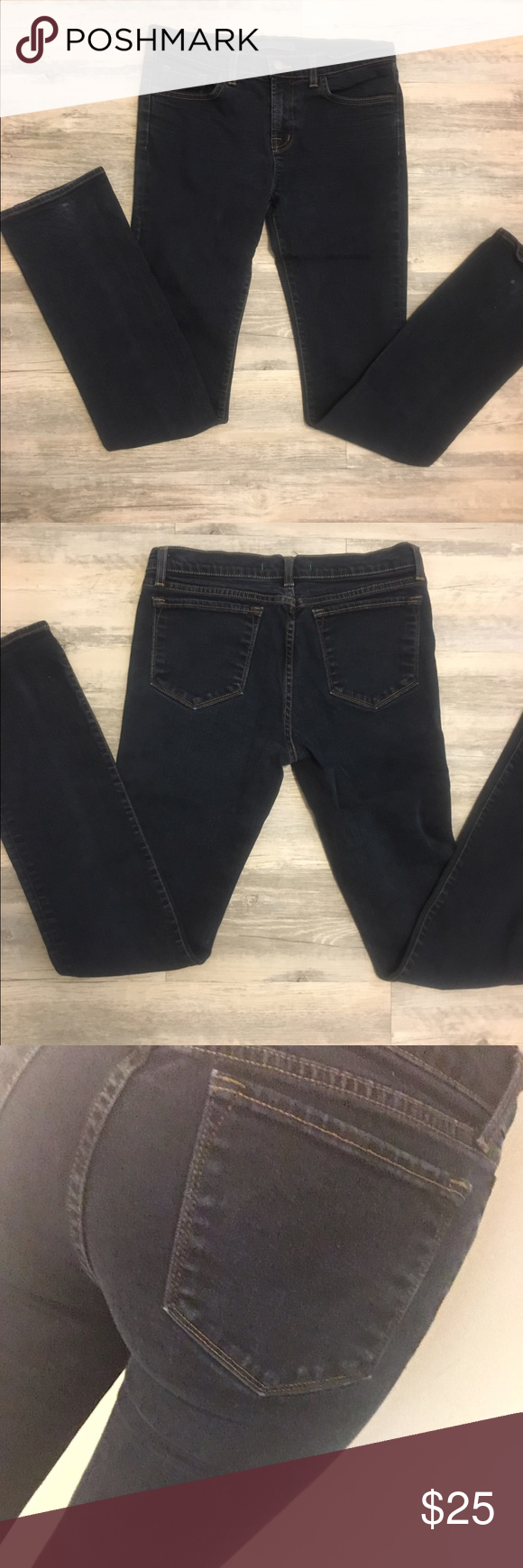 J Brand mid rise dark wash jean These are super flattering and are just a little too big for me in the waist. Anthropologie Jeans