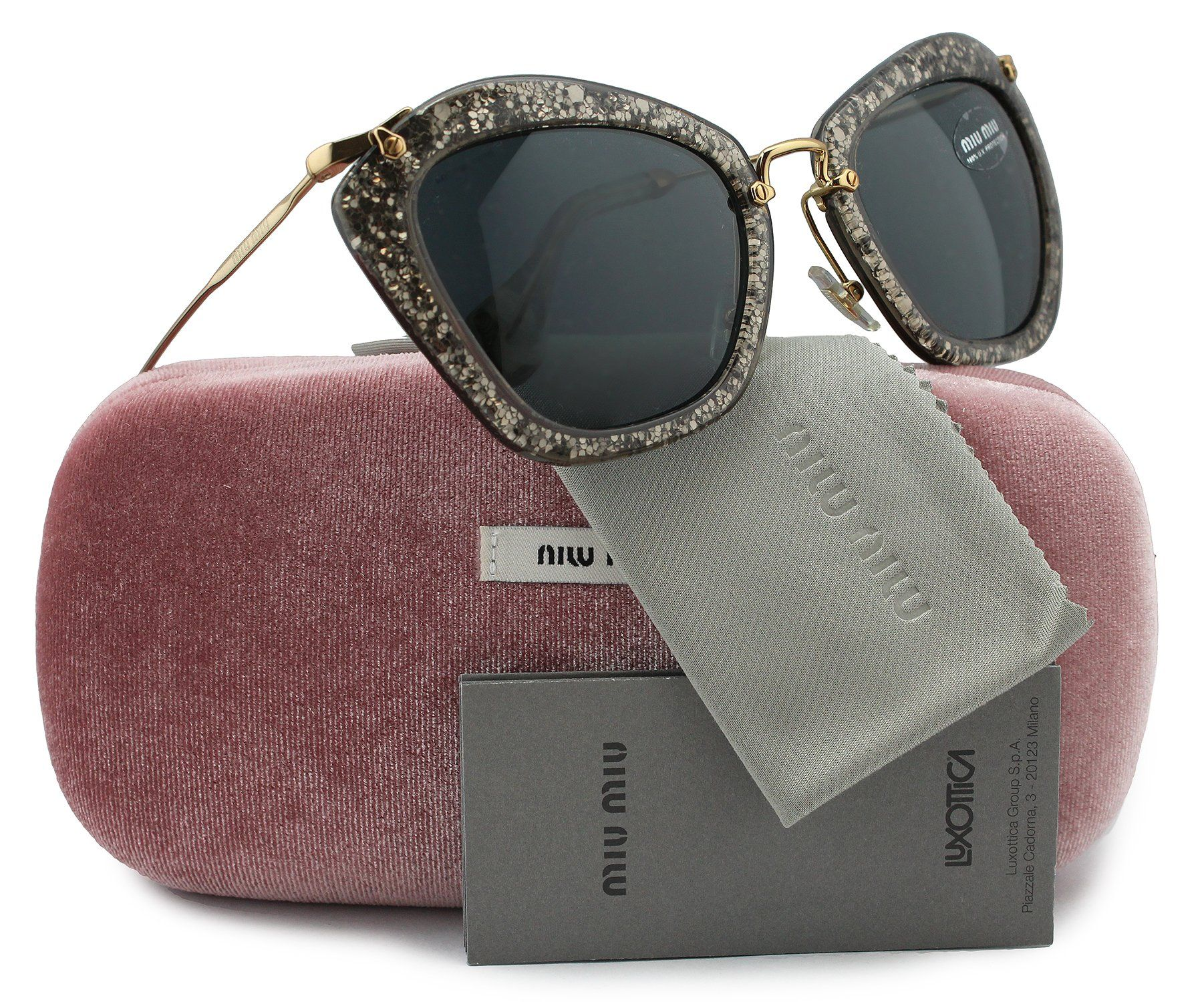 48e611a5c9c21 Amazon.com  MIU MIU SMU10N Noir Sunglasses Smoke Glitter Silver w Crystal  Grey (IAH-1A1) SMU 10N IAH1A1 55mm Authentic  Clothing