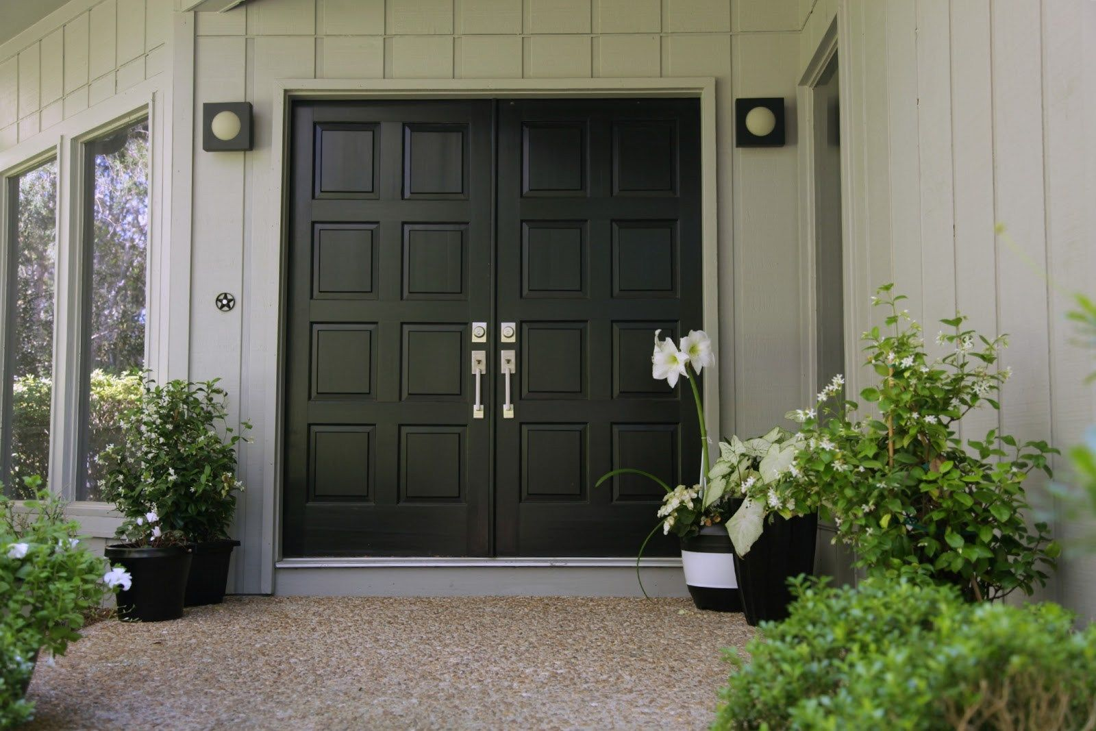 Modern Black Double Front Doors With Black Front Door With Double