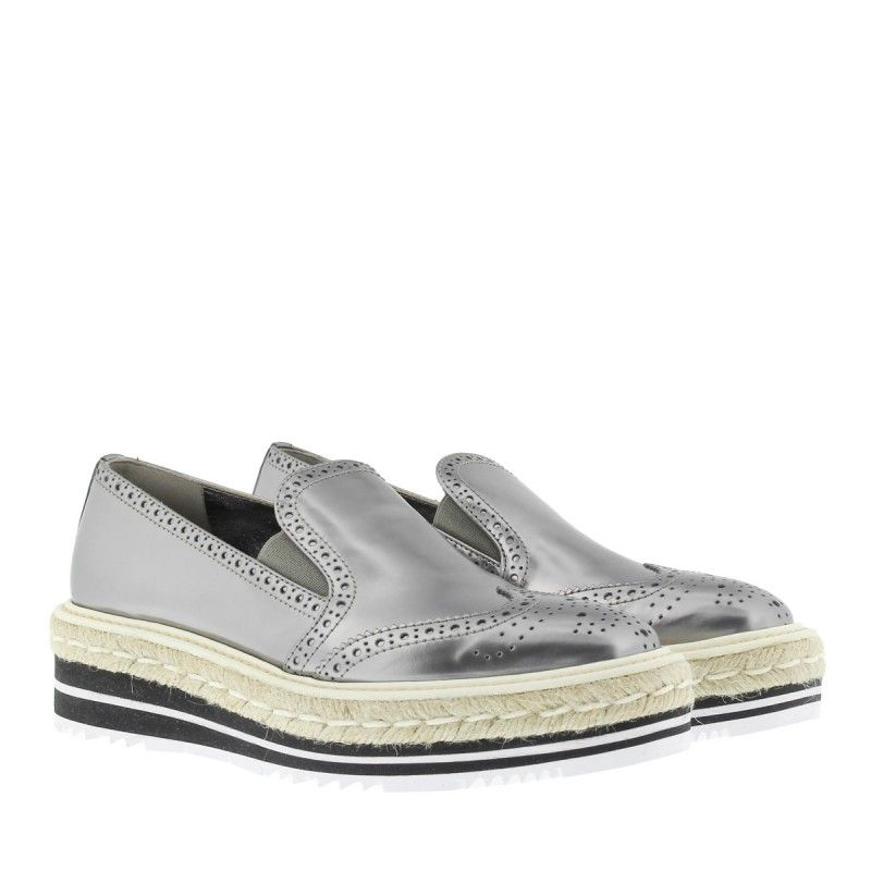 Loafers & Slippers - Logo On Top Loafers Silver - silver - Loafers & Slippers for ladies Prada