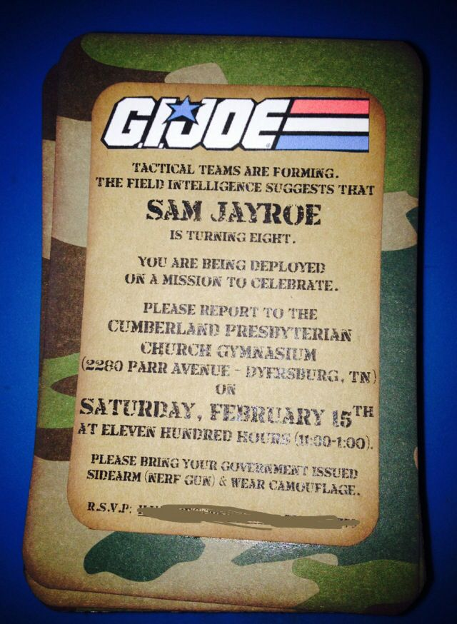 GI Joe birthday party invitation ArmyMilitary Soldier