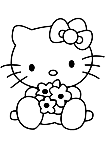 Hello Kitty With Flowers Coloring Page From Hello Kitty Category Select From 25320 Printa Hello Kitty Drawing Hello Kitty Coloring Hello Kitty Colouring Pages
