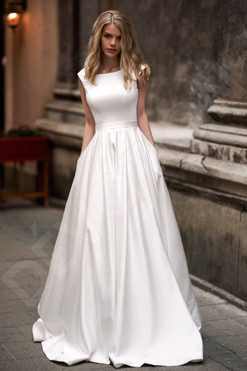 Individual size A-line silhouette Mareta wedding dress. Modern   Etsy