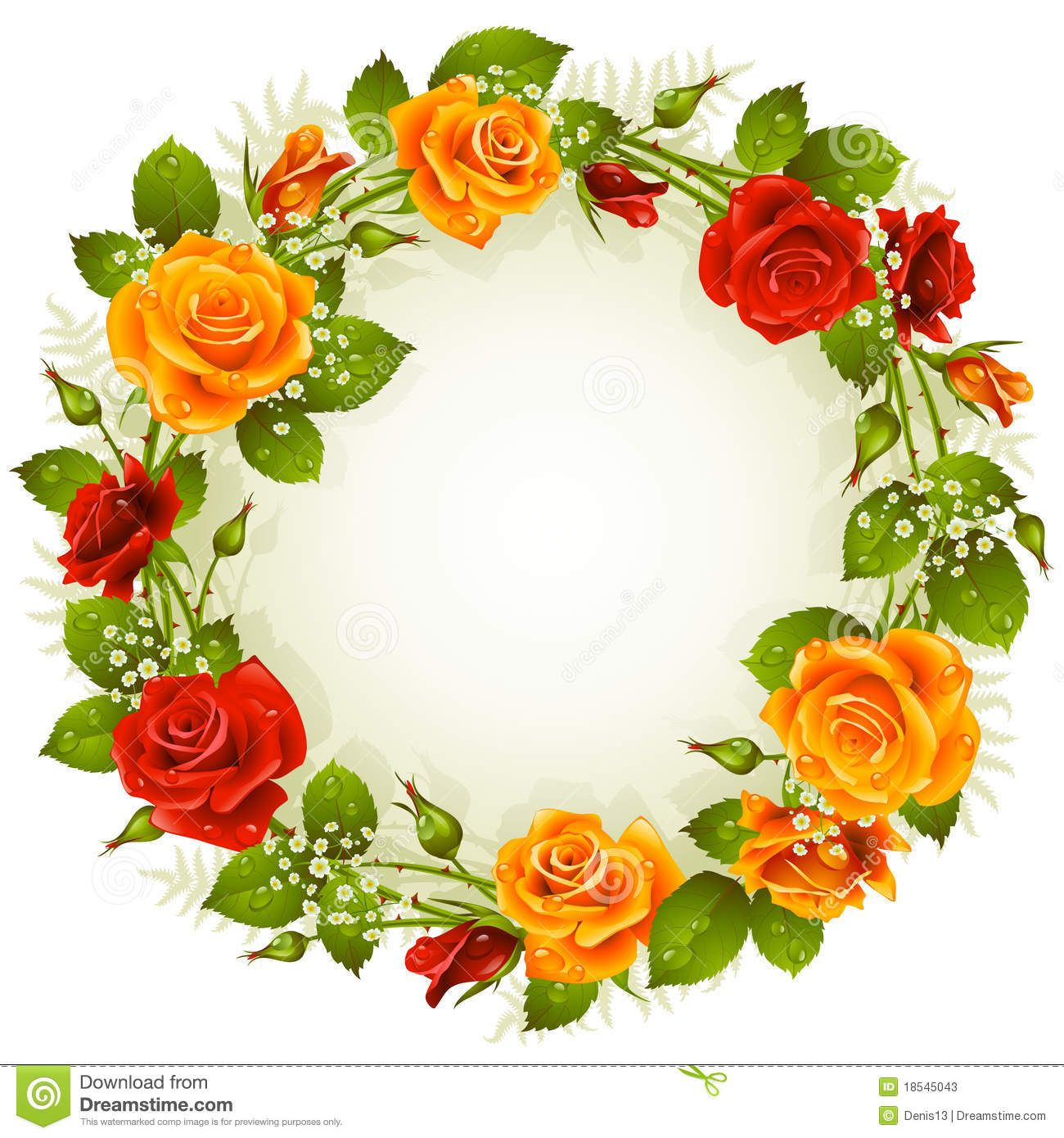 Vector Rose Frame In The Shape Of Circle Rose Frame Pansies Flowers Flower Frame