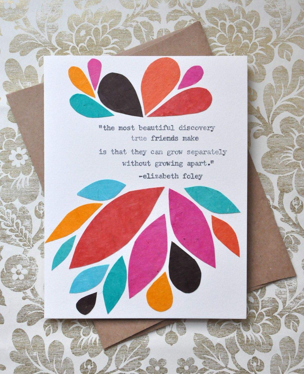 Birthday card handmade greeting card friendship quote abstract birthday card handmade greeting card friendship quote abstract leaves friendship card 850 bookmarktalkfo Gallery