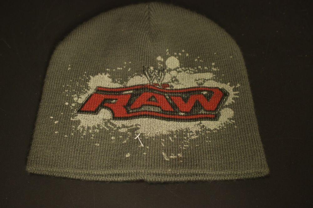 WWE Raw Wrestling Beanie Winter Hat Cap Toboggan Gray Red  HaT  Beanie aa4e037ed64
